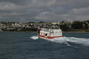 Bringing home the catch - fishing boat, Audierne, Brittany; 04-07-12