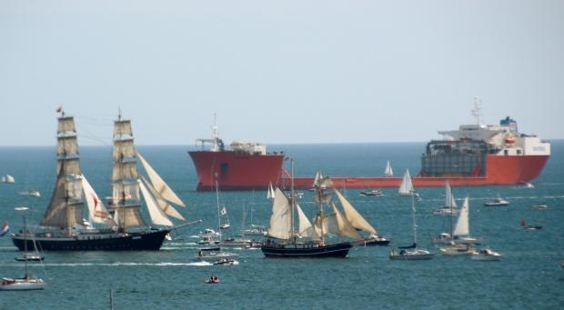Contrasting ship designs: Falmouth Bay, Cornwall; 31-08-14